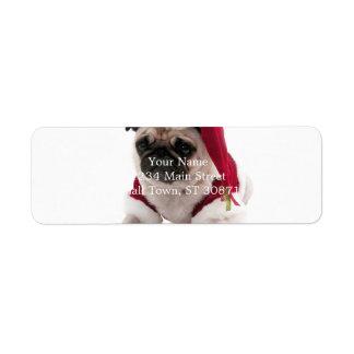 Etiqueta Pug do Natal - cão de Papai Noel - persiga claus