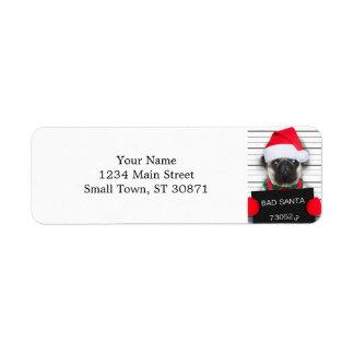 Etiqueta Pug do Natal - cão do mugshot - pug do papai noel