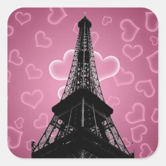 Etiqueta quadrada da torre Eiffel