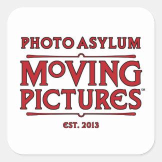 Etiqueta quadrada das imagens moventes do asilo da