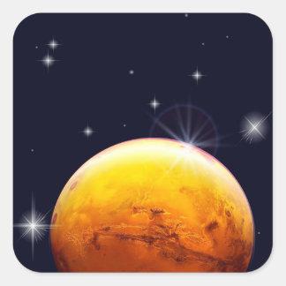 Etiqueta quadrada de Marte do planeta
