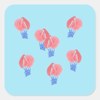 Etiqueta quadrada lustrosa dos balões de ar grande