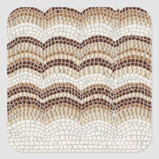 Etiqueta quadrada lustrosa pequena do mosaico bege
