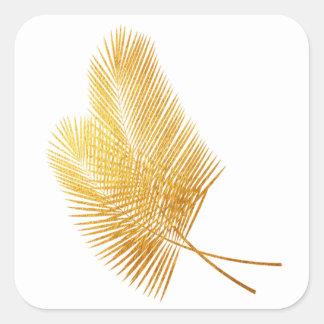 Etiqueta quadrada tropical em folha de palmeira do