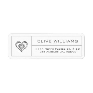 Etiqueta Quadro branco da prata da ilustração do coração