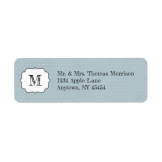 Etiqueta Quadro do monograma em azul pálido e em bolinhas