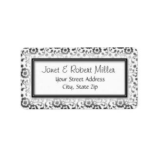 Etiqueta Quadro floral de prata elegante do teste padrão