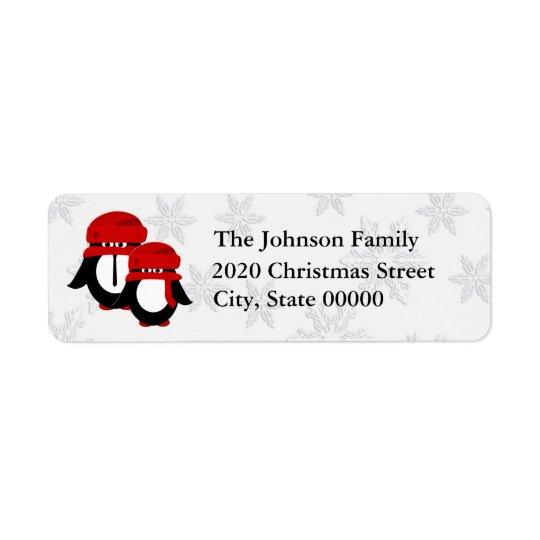 Etiqueta RA bonito do casal do pinguim do Natal