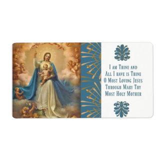 Etiqueta Rainha de Mary de anjos de Jesus do céu