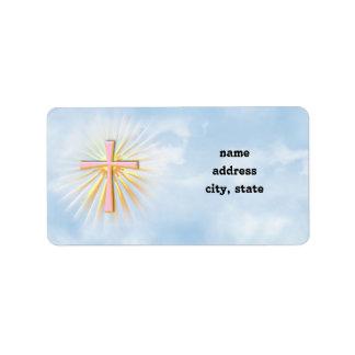 Etiqueta Raios de luz da cruz religiosa (W/Clouds)