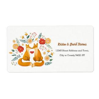 Etiqueta Raposas românticas e casamento floral rústico da