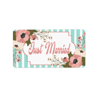 Etiqueta Recem casados floral cor-de-rosa que Wedding