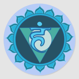 Etiqueta redonda clássica azul de Chakra Visuddha