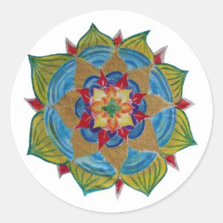 Etiqueta redonda clássica da mandala, lustrosa