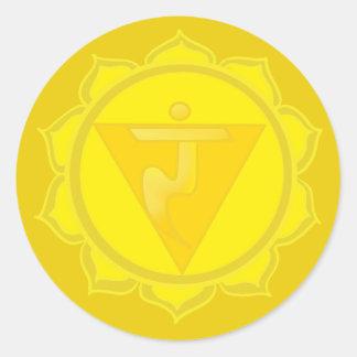 Etiqueta redonda clássica de Chakra do plexo