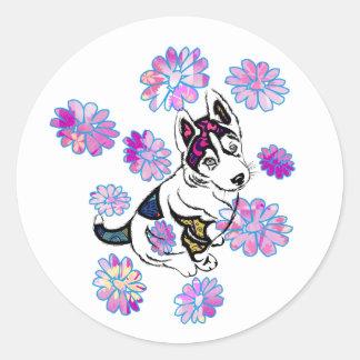 Etiqueta redonda clássica do cão 1, lustrosa adesivo