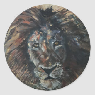 Etiqueta redonda clássica do leão