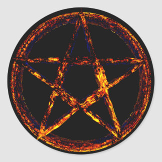 Etiqueta redonda clássica do Pentagram, lustrosa