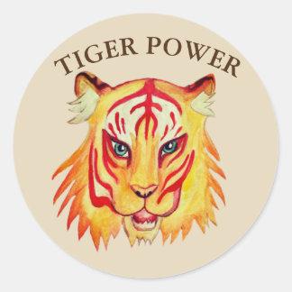 Etiqueta redonda clássica do poder do tigre