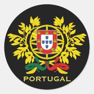 Etiqueta redonda da brasão de Portugal