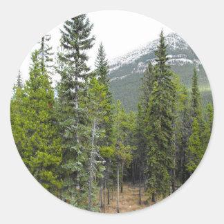 Etiqueta redonda da cena da floresta e da montanha