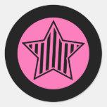 Etiqueta redonda da estrela do rosa quente e do adesivo em formato redondo