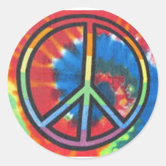 Etiqueta redonda da tintura do laço da paz adesivo