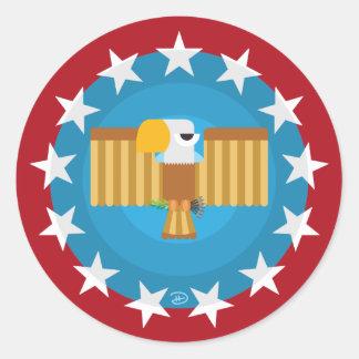 Etiqueta redonda de Eagle da liberdade (vermelho)