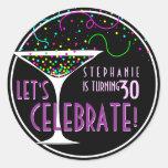 Etiqueta redonda do aniversário do cocktail dos adesivos em formato redondos