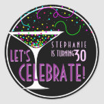 Etiqueta redonda do aniversário do cocktail dos co adesivos