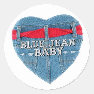 Etiqueta redonda do bebê azul de Jean Adesivo