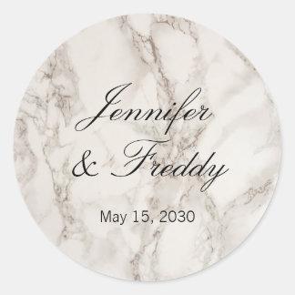 Etiqueta redonda do casamento de pedra de mármore