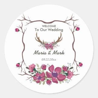 Etiqueta redonda do casamento floral decorativo