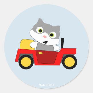 Etiqueta redonda do design engraçado do gato