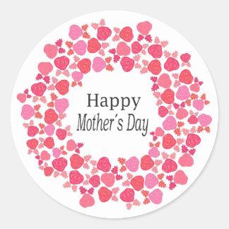 Etiqueta redonda do dia das mães vermelho &