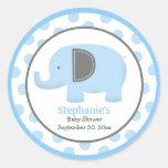 Etiqueta redonda do elefante azul e cinzento da mo adesivo redondo