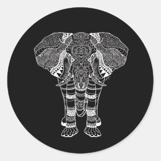 Etiqueta redonda do elefante preto e branco