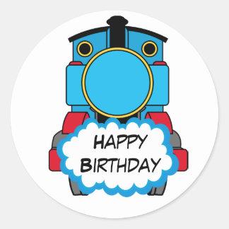 Etiqueta redonda do feliz aniversario do trem