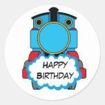 Etiqueta redonda do feliz aniversario do trem adesivos redondos