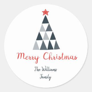 Etiqueta redonda do Feliz Natal