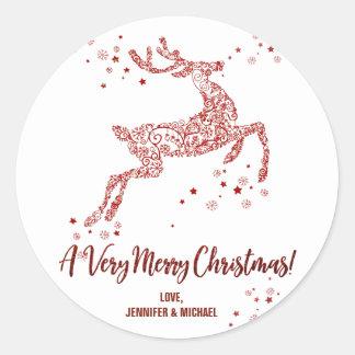Etiqueta redonda do Feliz Natal ornamentado da