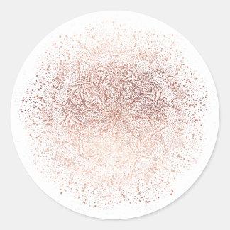Etiqueta redonda do feriado cor-de-rosa do Natal