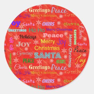 Etiqueta redonda do feriado do Feliz Natal