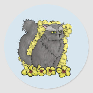 Etiqueta redonda do gatinho mal-humorado