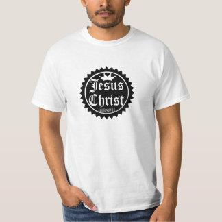 Etiqueta redonda do Jesus Cristo Camisetas