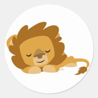 Etiqueta redonda do leão dos desenhos animados do adesivos redondos
