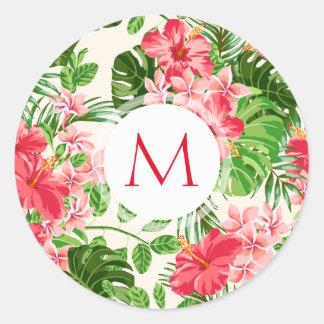 Etiqueta redonda do monograma vermelho floral do