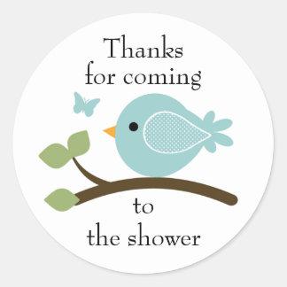 Etiqueta redonda do pássaro azul customizável