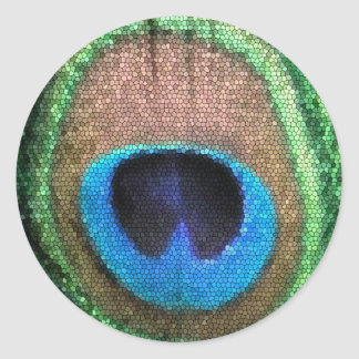 Etiqueta redonda do pavão do vitral adesivo