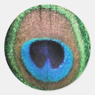 Etiqueta redonda do pavão do vitral adesivos em formato redondos